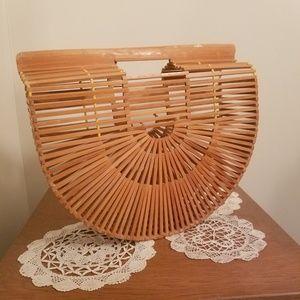 Vintage Wooden Handbag Round Purse